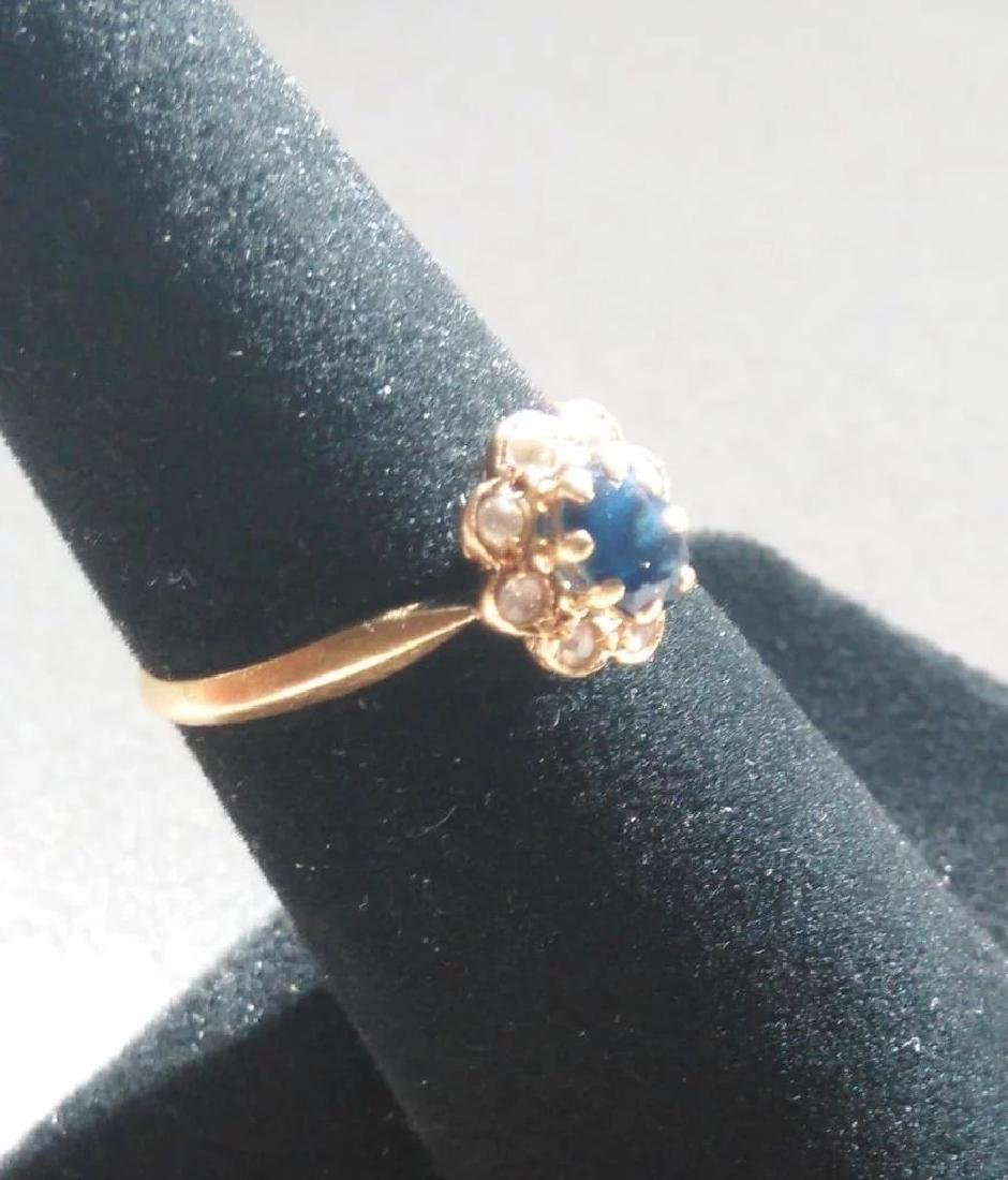 18K Yellow Gold Blue Sapphire Ring - 2