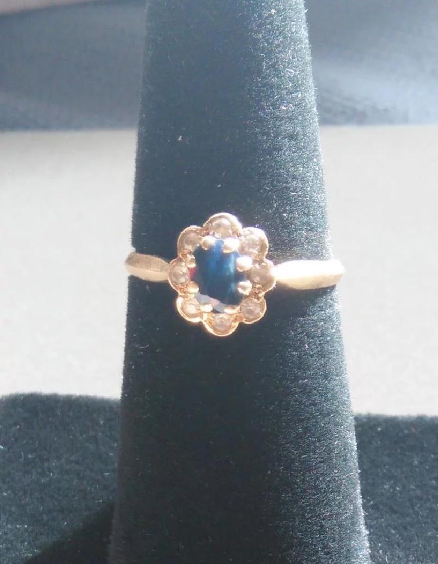 18K Yellow Gold Blue Sapphire Ring - 3