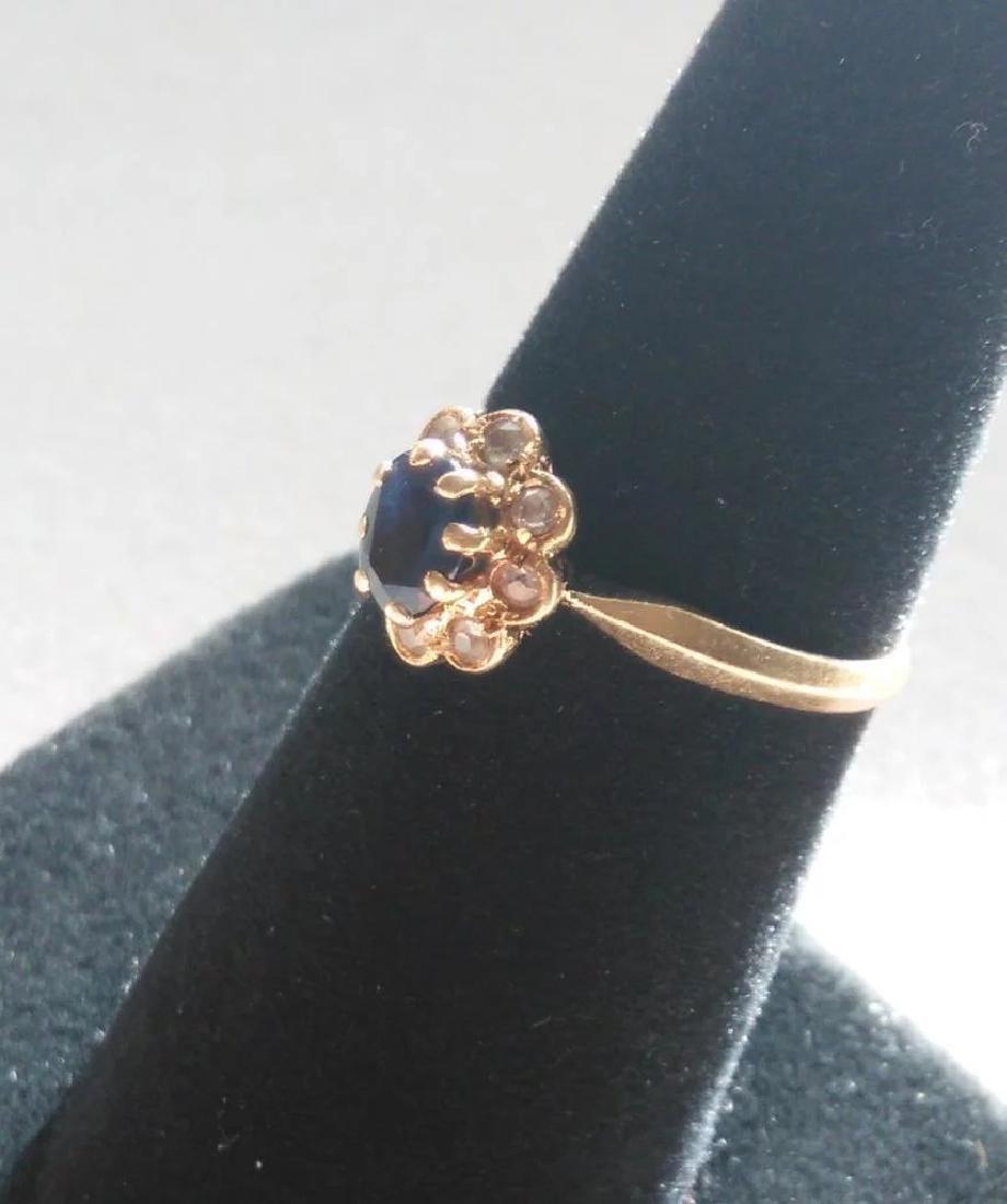 18K Yellow Gold Blue Sapphire Ring - 4
