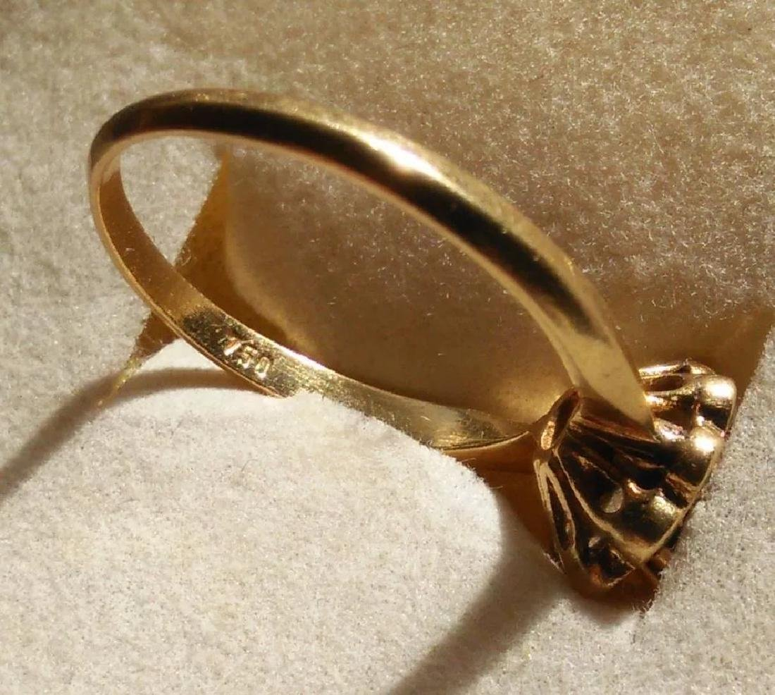 18K Yellow Gold Blue Sapphire Ring - 6