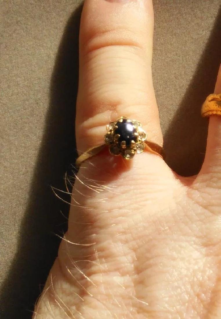 18K Yellow Gold Blue Sapphire Ring - 8