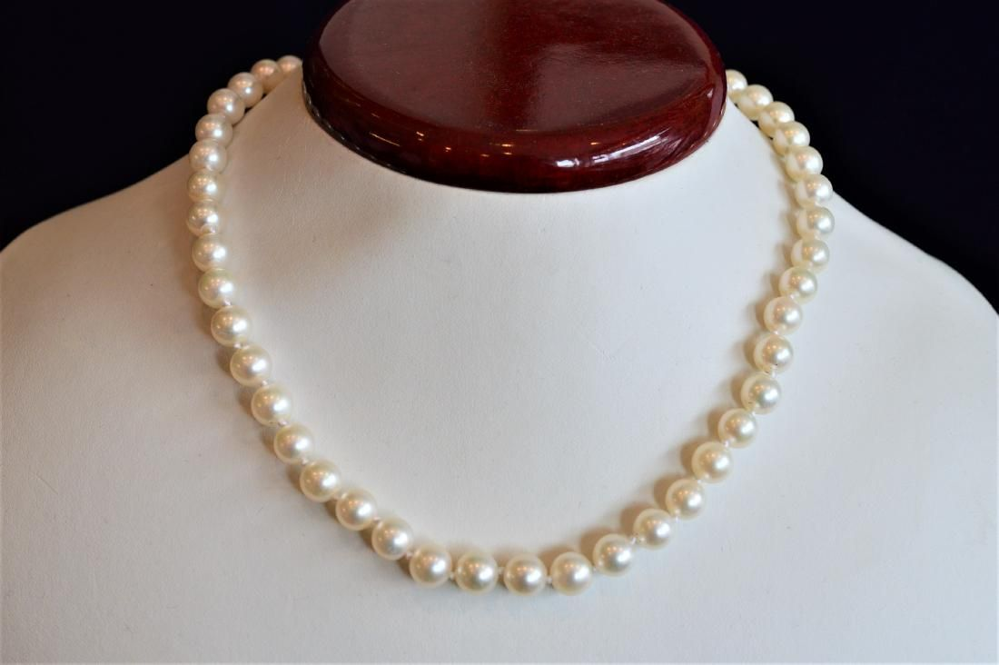 """Ladies 15"""" AA+ Pearl Necklace with White Gold Clasp"""