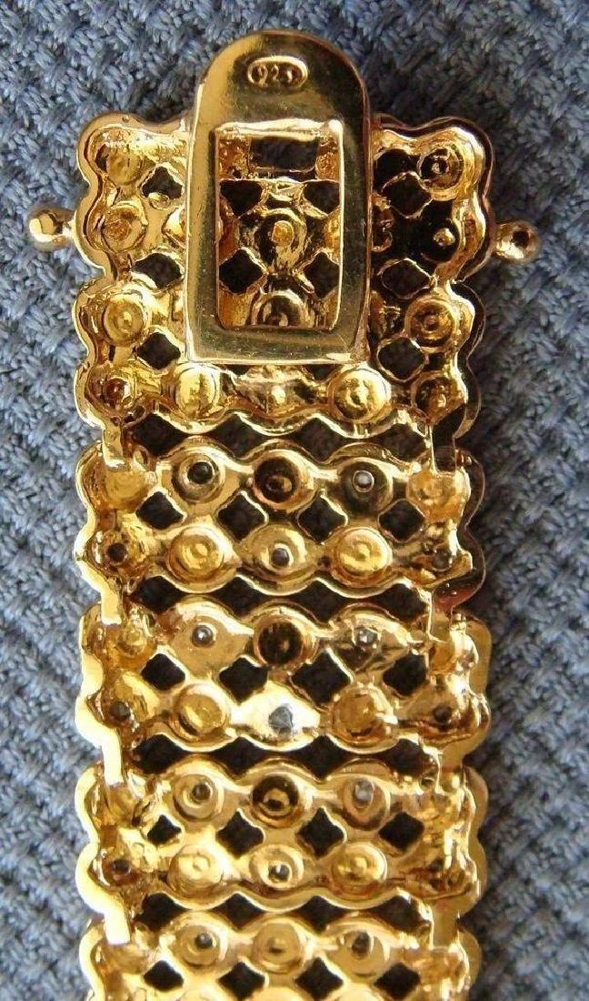 Sterling Silver 24K Vermeil Diamond Bracelet, 1ctw - 6