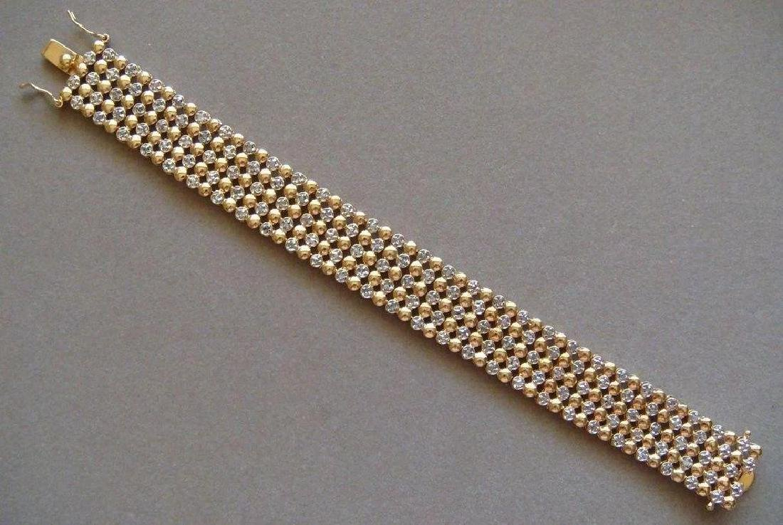 Sterling Silver 24K Vermeil Diamond Bracelet, 1ctw - 8
