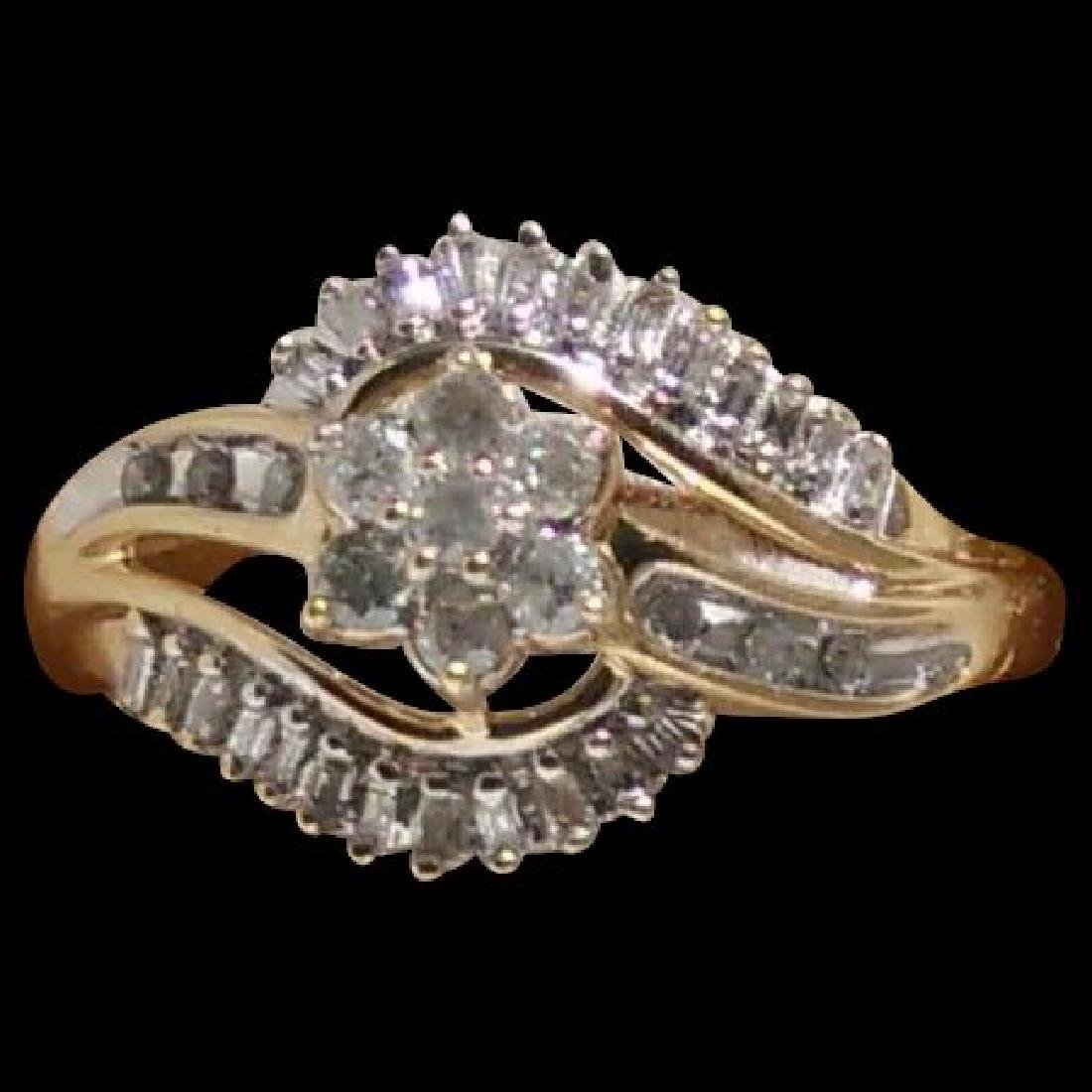 19K Gold Diamond Cluster Ring, .75ctw