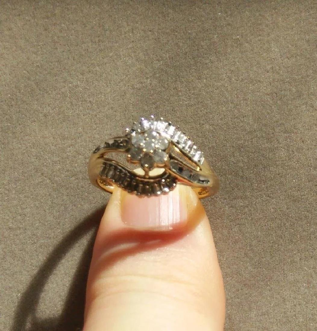 19K Gold Diamond Cluster Ring, .75ctw - 3