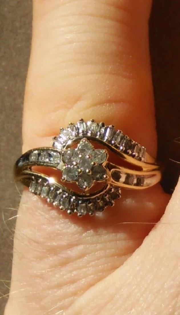 19K Gold Diamond Cluster Ring, .75ctw - 7