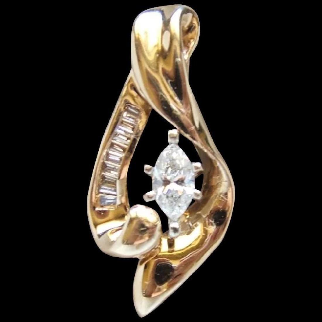 Vintage 14K Yellow Gold Marquise Diamond Pendant