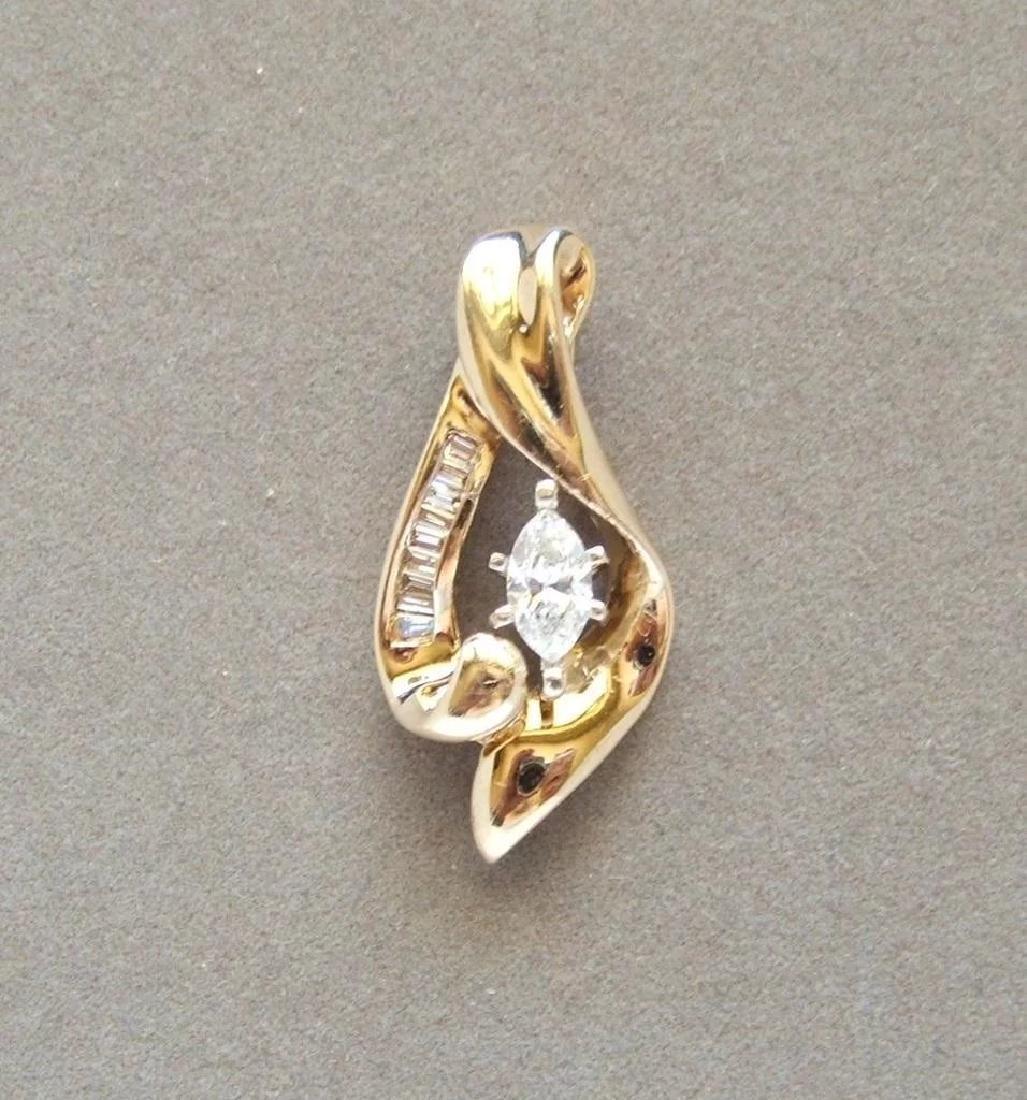 Vintage 14K Yellow Gold Marquise Diamond Pendant - 7