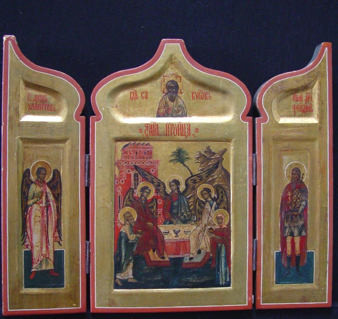 Triptich with the old Trinity with saints