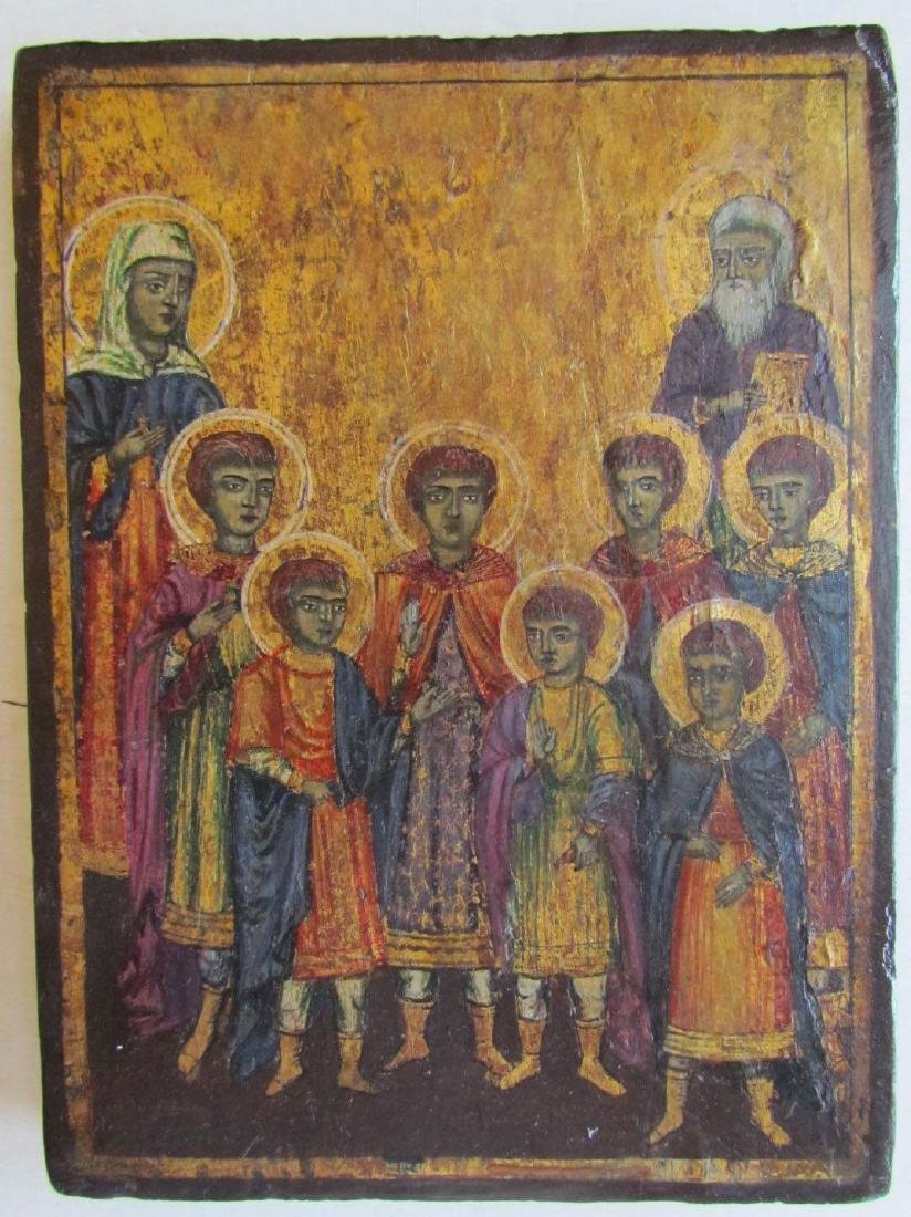 LATE 18th CENTURY ANTIQUE GREEK ICON OF SELECTED SAINTS