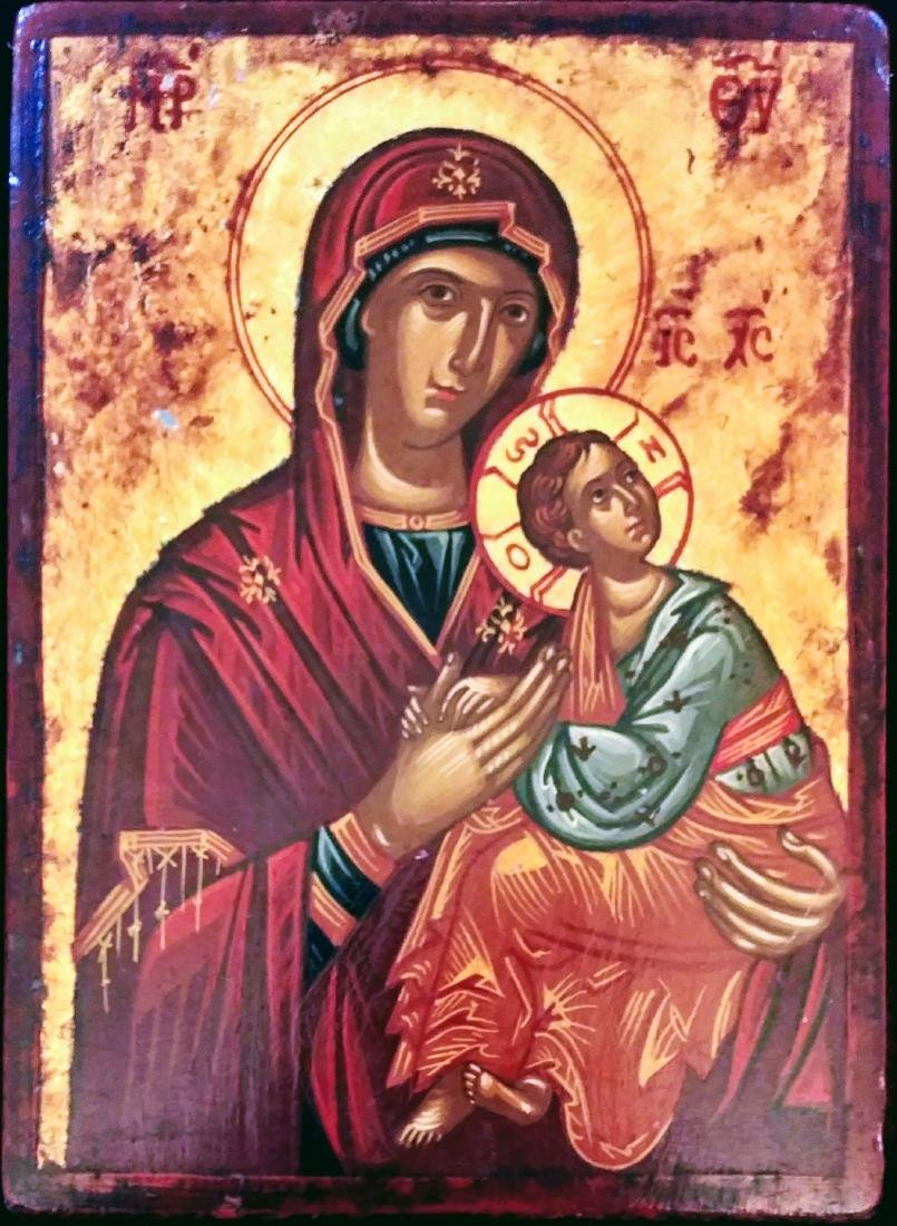 Antique Greek icon of the Mother of God