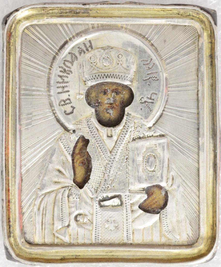 Saint Nicholas in silver oklad