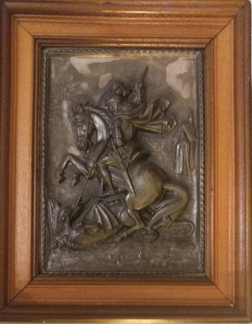 Vintage Greek icon on Metal of st.George Large