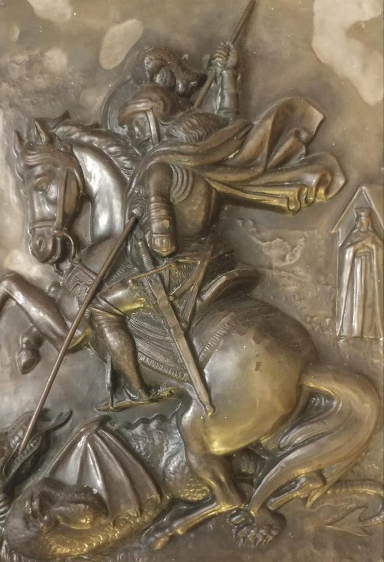 Vintage Greek icon on Metal of st.George Large - 2