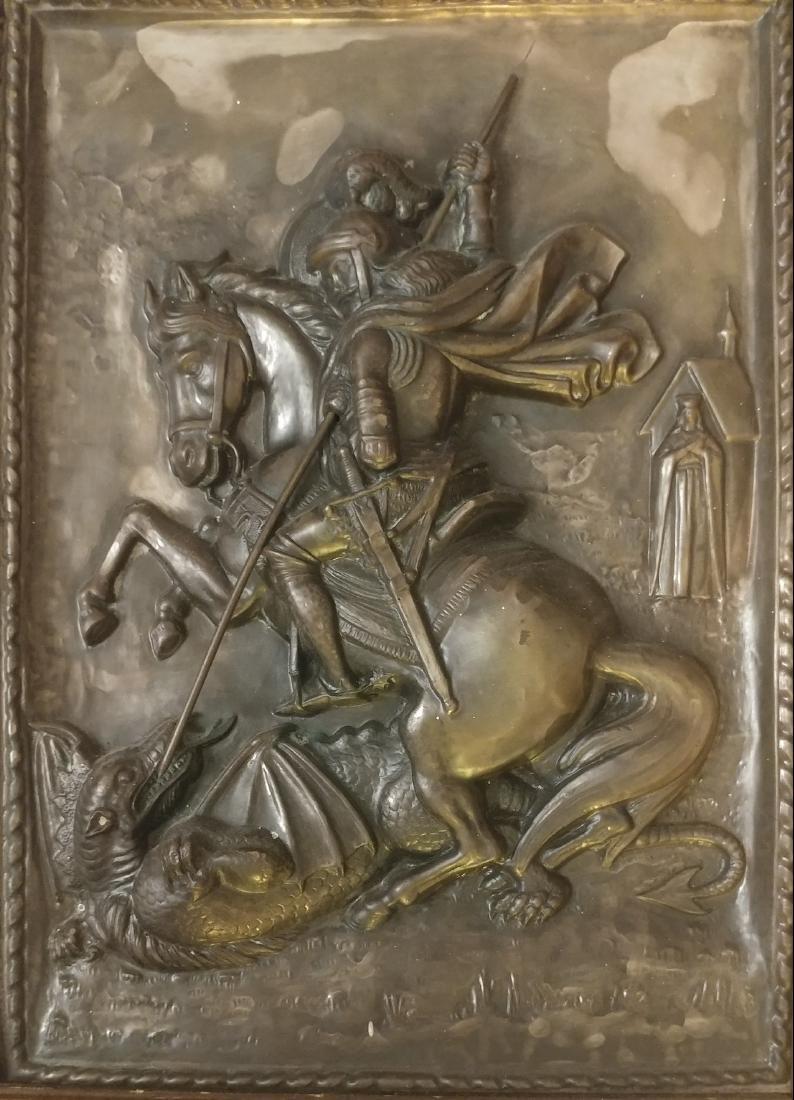 Vintage Greek icon on Metal of st.George Large - 3