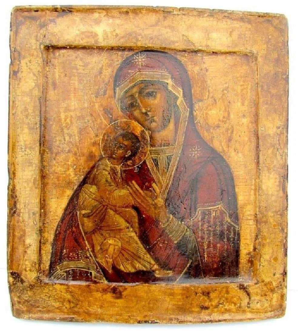 17th CENTURY RARE ANTIQUE RUSSIAN ICON VIRGIN OF