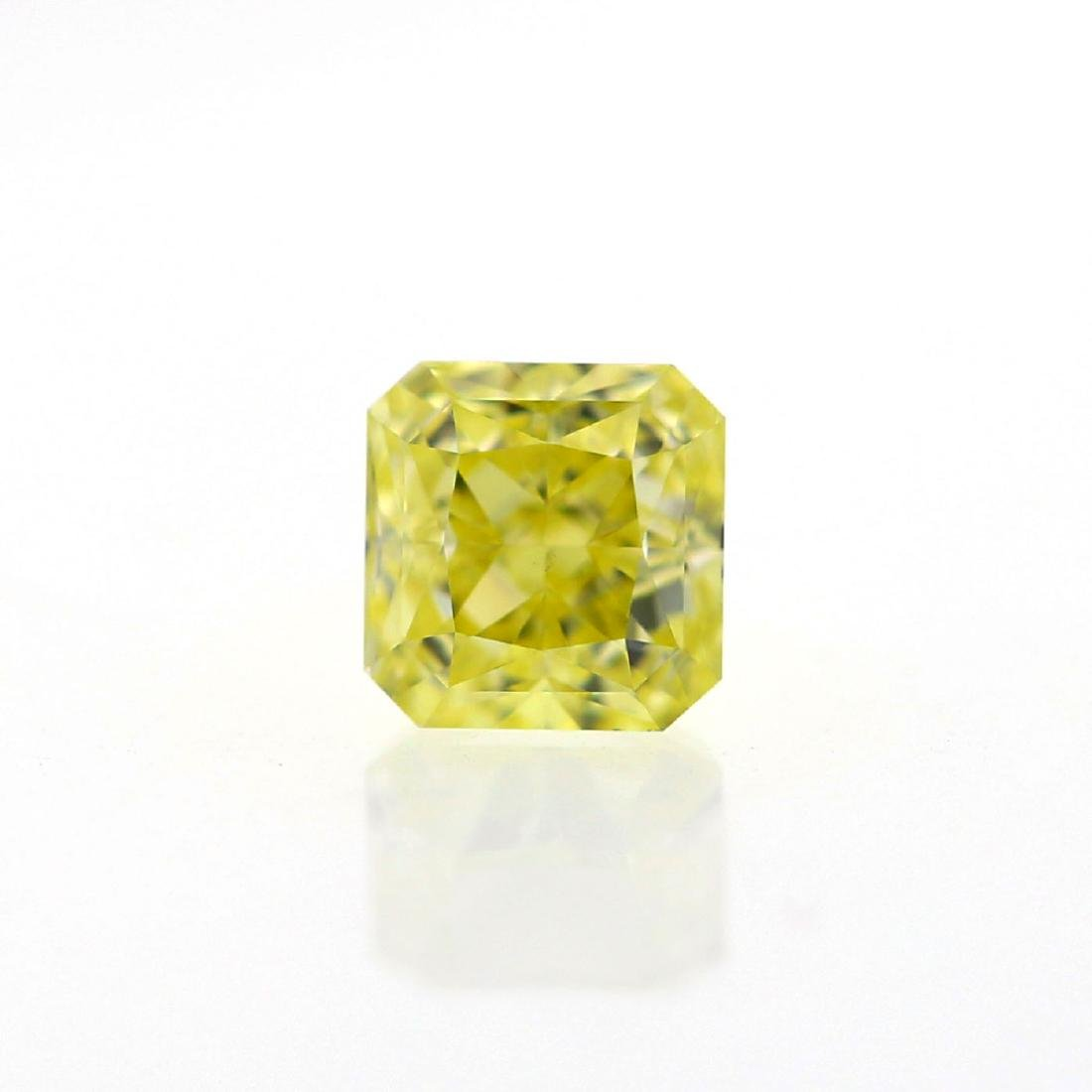 Natural Fancy Yellow 0.73 ct Radiant VS2 Diamond, GIA