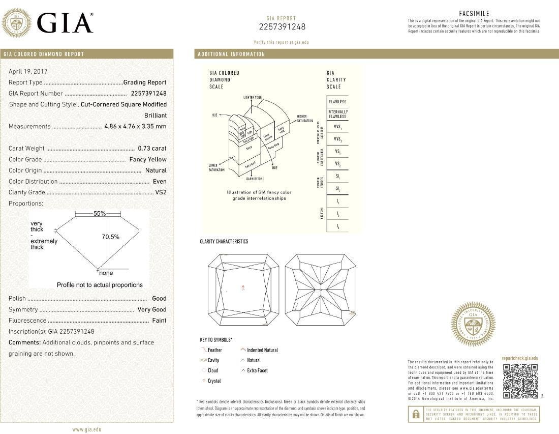 Natural Fancy Yellow 0.73 ct Radiant VS2 Diamond, GIA - 4