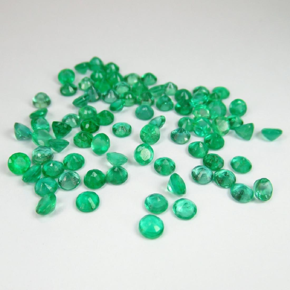 14.66 Ctw Natural 81 Calibrate Emerald 3.5 mm Round