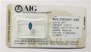 0.29 ct Marquise cut diamond Fancy Deep Blue I1