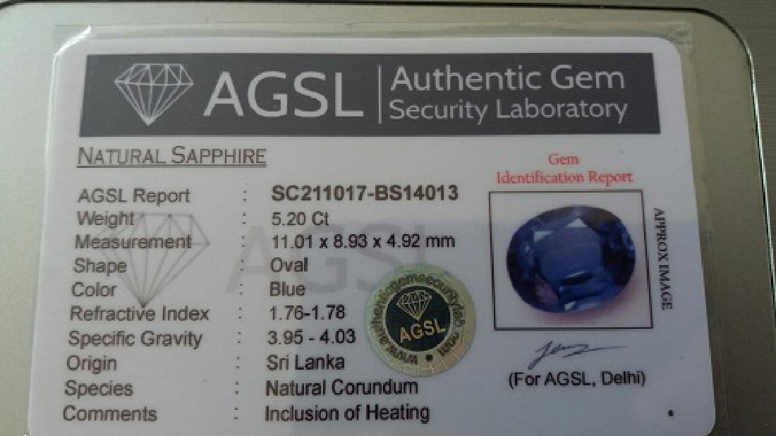 Amazing 5.20 Ct Natural Ceylon Blue Sapphire AGSL - 2