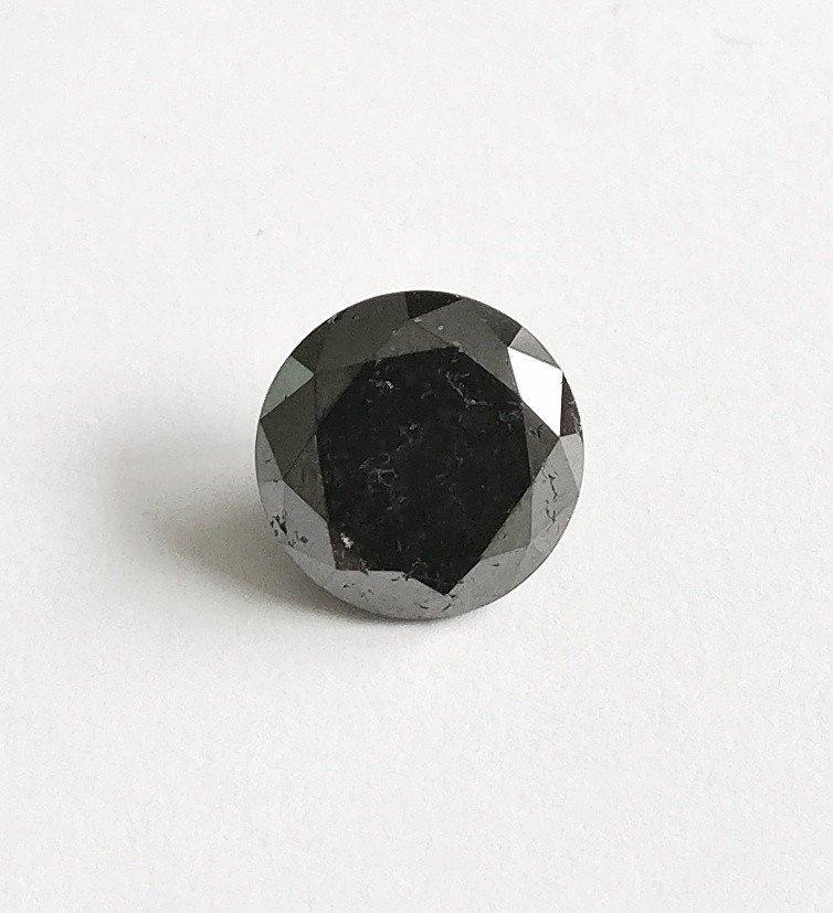 1.75 ct Round cut diamond Fancy Black