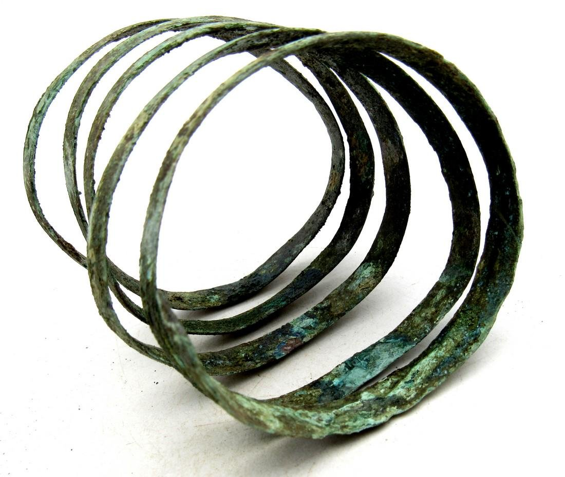 Medieval Viking Era Bronze Coiled Snake Bracelet - 2