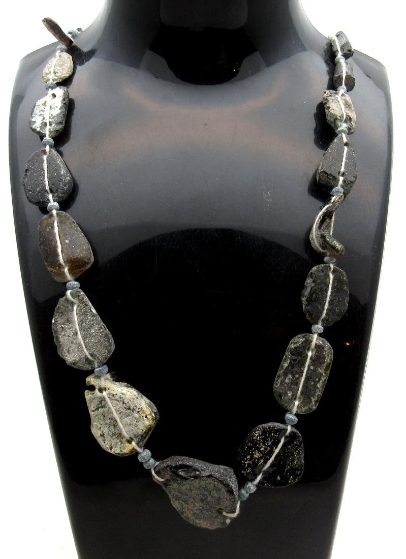 Ancient Roman Glass Fragment Beaded Necklace