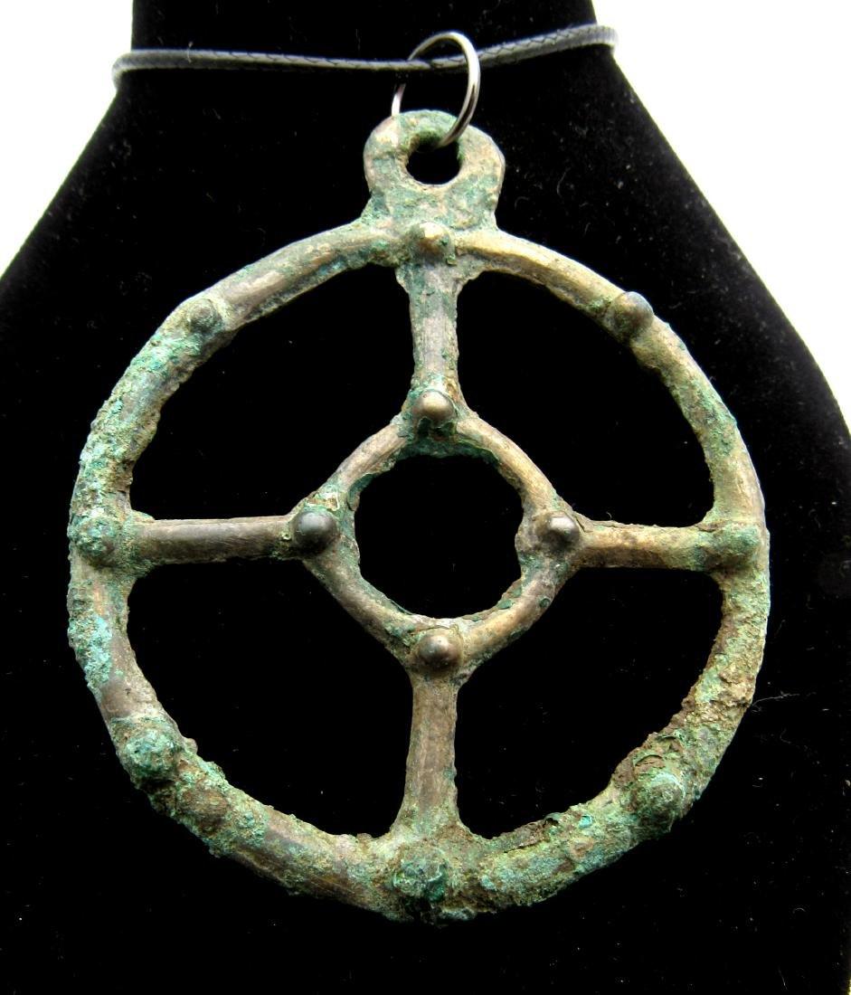 Ancient Bronze Age Sun Amulet Pendant with Knobs
