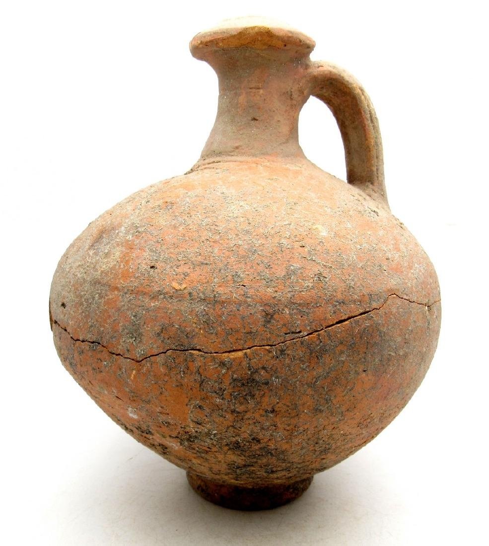 Ancient Roman Terracotta Flagon (Jar) with Handle