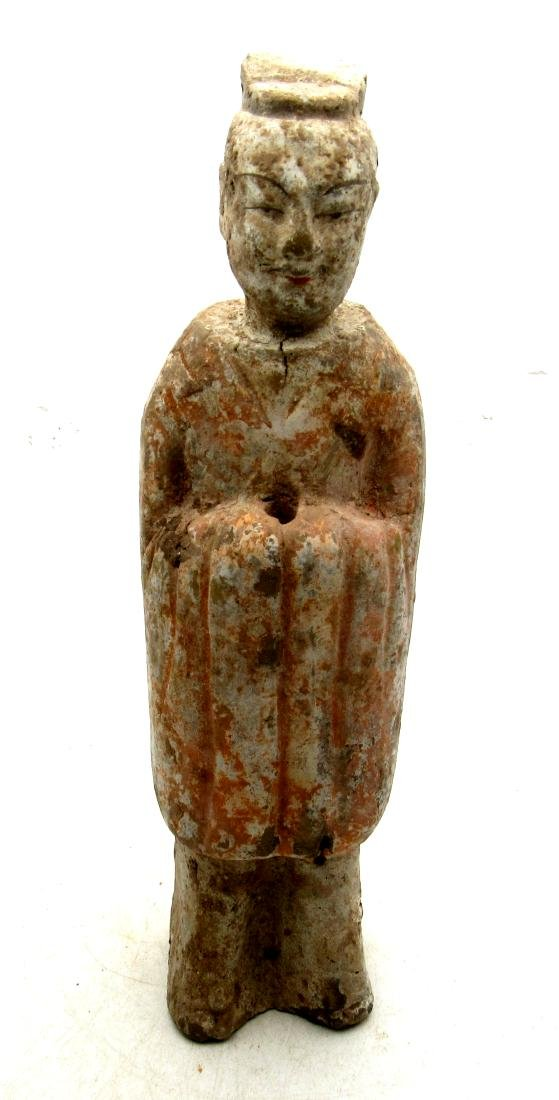 Ancient Chinese Northern Qi Terracotta Attendant Statue
