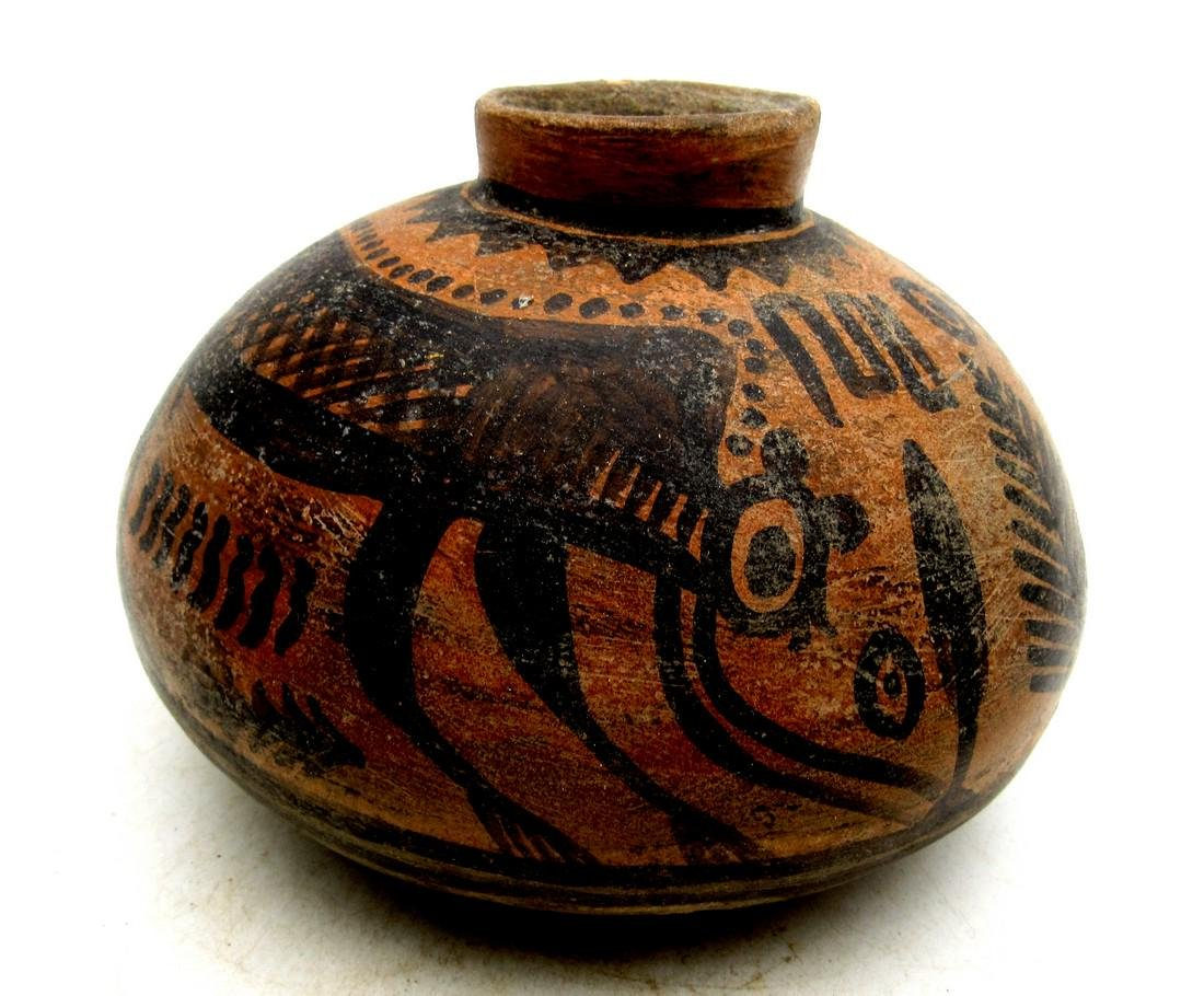 Ancient Indus Valley Terracotta Jar with Monkey Motif
