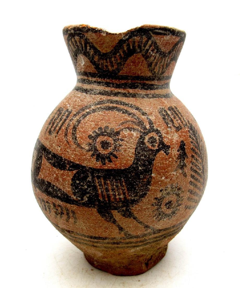 Ancient Indus Valley Terracotta Jar with Deer Motif