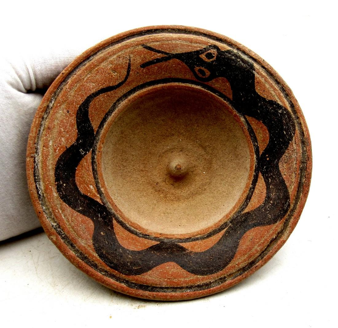 Ancient Indus Valley Terracotta Bowl with Snake Motif