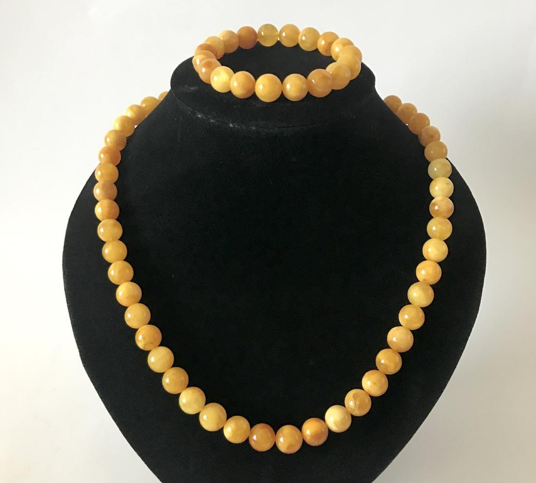 Baltic Amber Jewelry Set Bracelet Necklace Yellow Egg