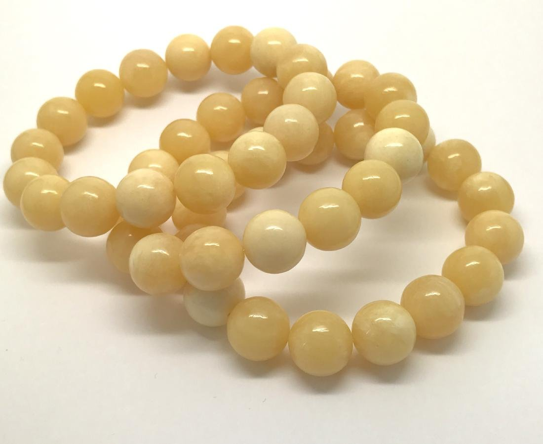 Baltic Amber Bracelet Set x3 Milky White Colour