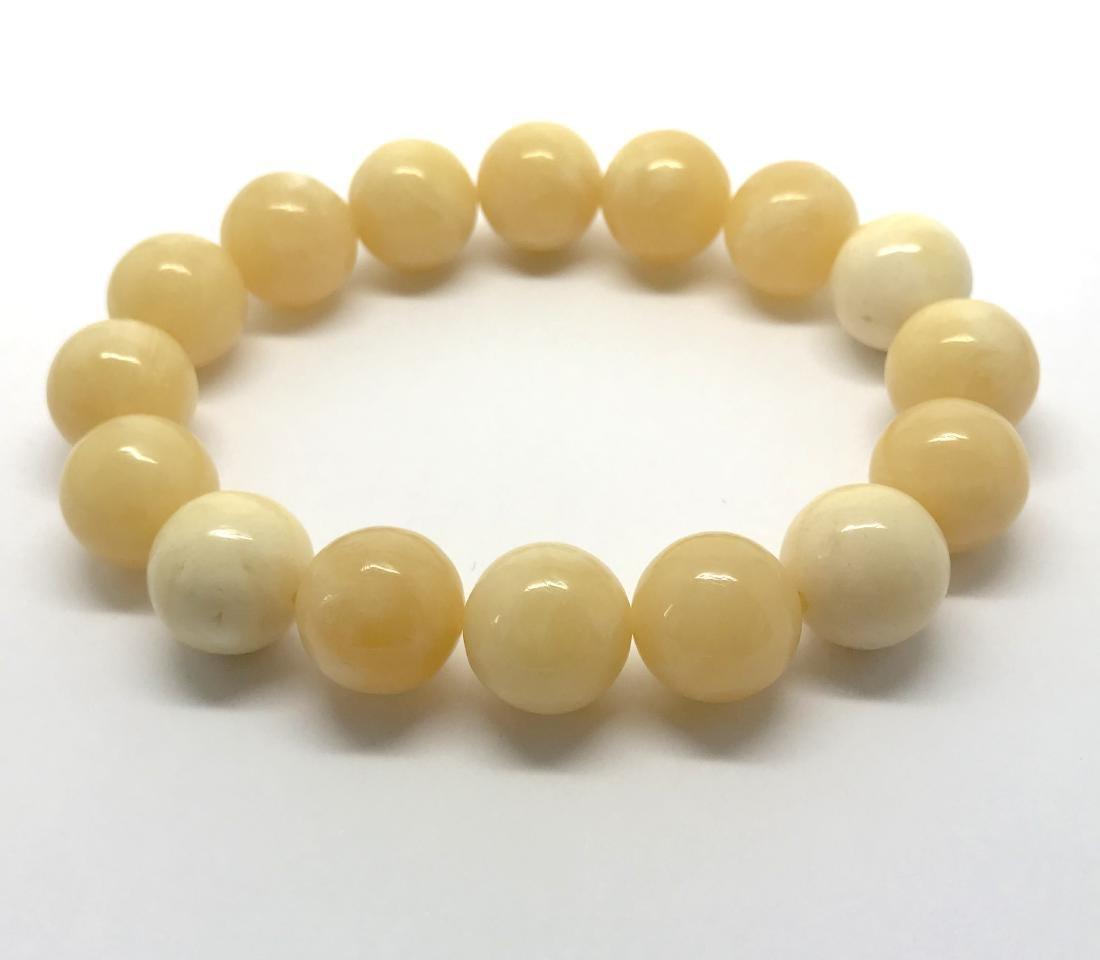 Baltic Amber Bracelet Milky White Colour Expressive