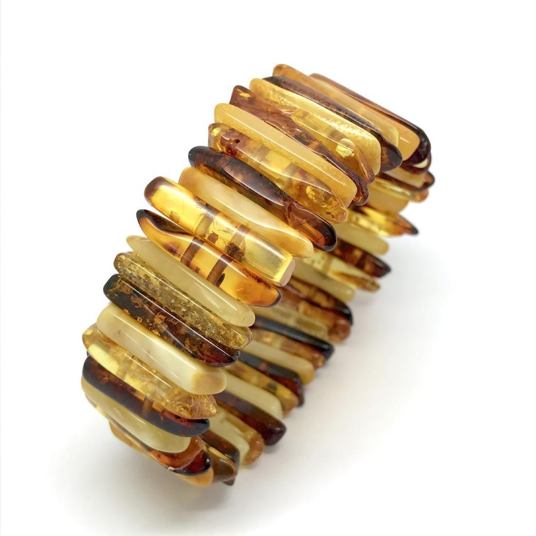 Wide flat Baltic amber cuff bracelet 31.2 gr