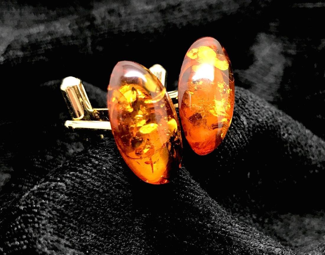 Baltic Amber Cufflinks Cognac Colour