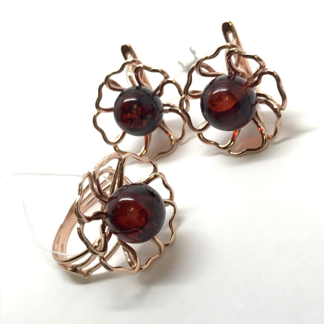 24K gold plated silver Baltic amber ring earrings set