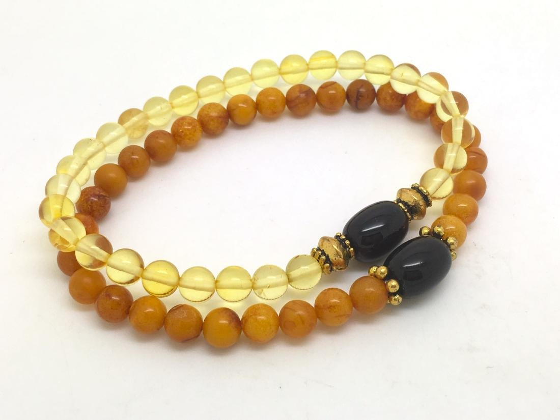 Baltic Amber Bracelet Set Cherry Lemon Egg Yolk Colour