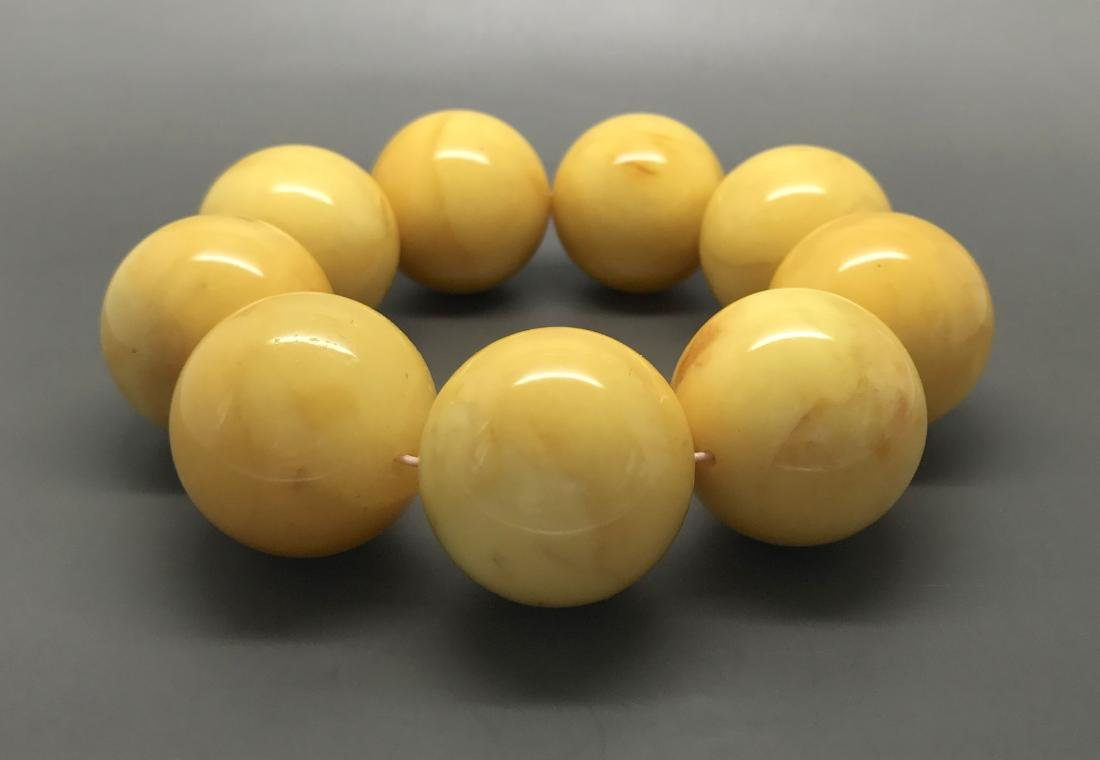 Baltic Amber Bracelet Big Beeswax Egg Yolk Colour Beads