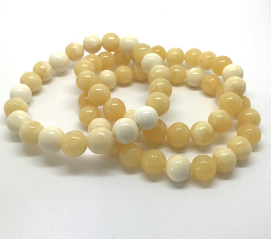 Baltic Amber Jewelry Set x3 Bracelets White-Yellow