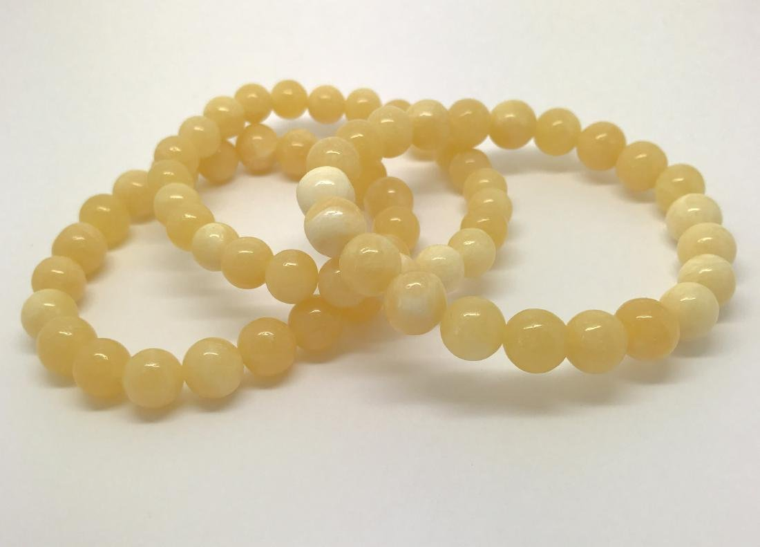 Baltic Jewelry Set x3 Bracelets Yellow-White Colour - 2