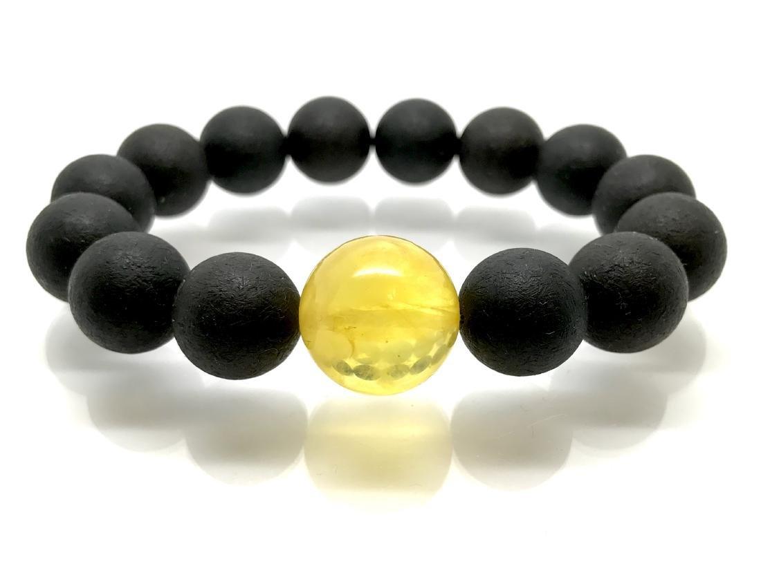 Baltic Amber Bracelet Black Mat&Lemon Colour