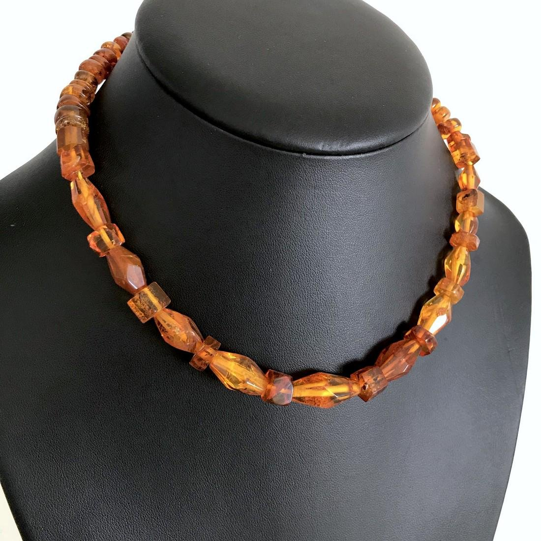 Vintage Baltic Amber carved beads necklace, 46 cm