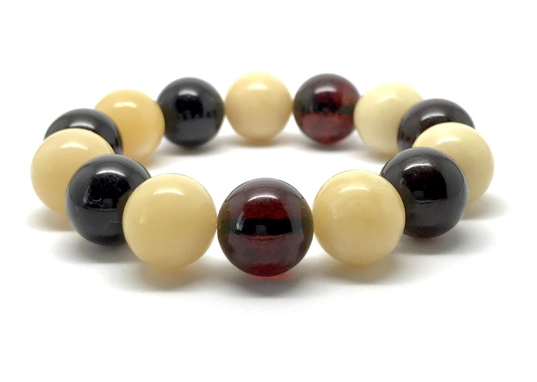 Baltic Amber Bracelet Cherry&White Colour