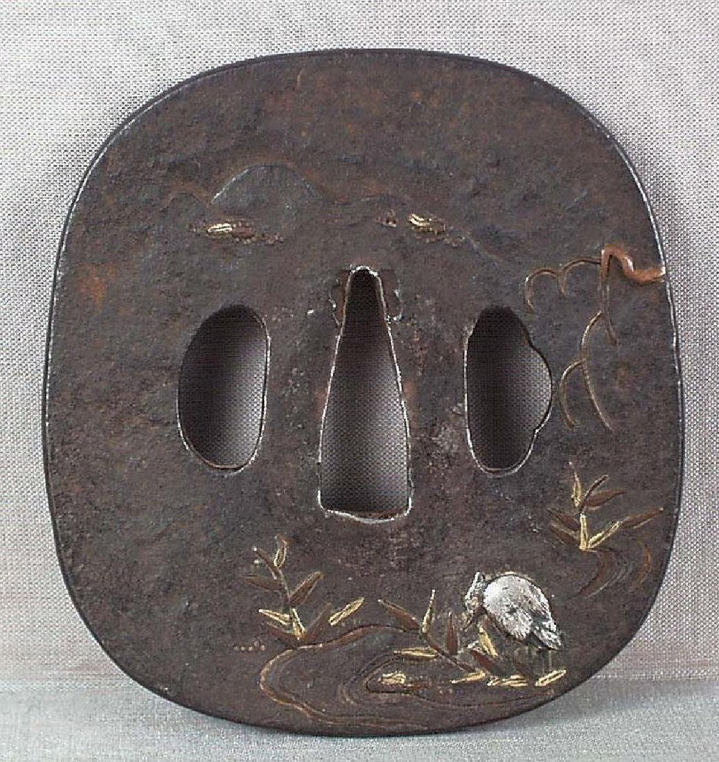18/19th C Japanese Sword Tsuba Egret by Stream