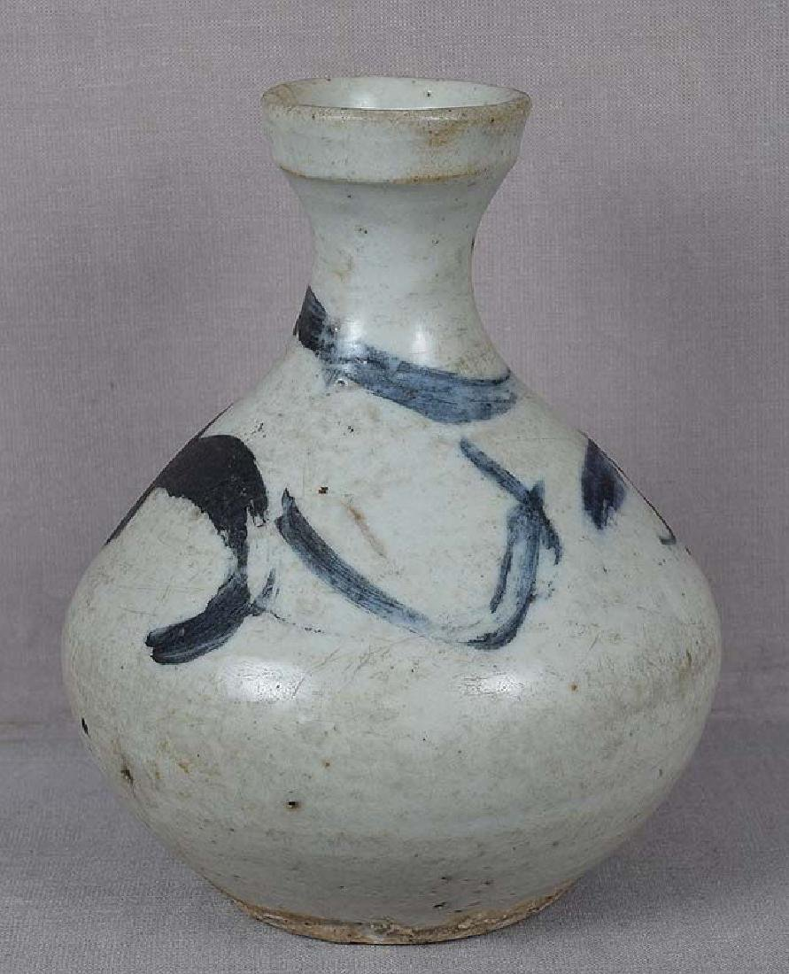 18c Korean Porcelain Oil Bottle Vase Grass Decoration